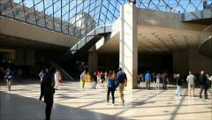 Louvre Museum lobby and entrance Stock Footage