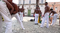 A group of people playing Capoeira in Salvador, Bahia. Stock Footage