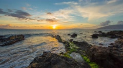 4k Time-lapse Photography with Sunset on hawaiian beach Stock Footage