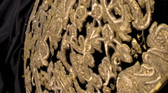 Petticoat Elizabethan in black and velvet embroidered with fine gold Stock Footage