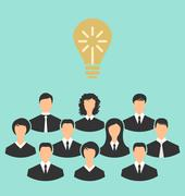 group of business people gather together, birth of the brilliant idea - stock illustration