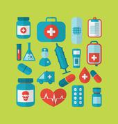 collection trendy flat medical icons - stock illustration