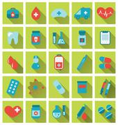 collection trendy flat medical icons with long shadow - stock illustration