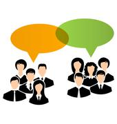 Icons of business groups share your opinions, dialogs speech bubbles Stock Illustration