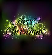 Merry christmas floral text design, shimmering glowing background Stock Illustration