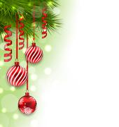 Christmas fir branches and glass balls, copy space for your text Stock Illustration
