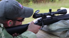 Sniper Takes Shot and Spotter Gives Audio Response Stock Footage