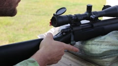 Sniper Takes Aim at Target in Training Exercise Stock Footage