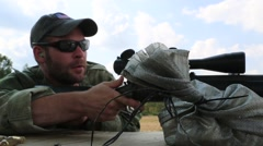 Closeup of Sniper Setting up a Shot in Training Stock Footage