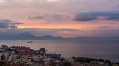 Naples with Mount Vesuvius in the Sunrise Timelapse Stock Footage
