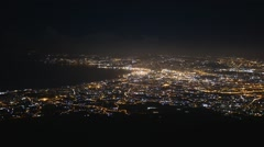 Aerial view of panorama of Napoli at night Stock Footage