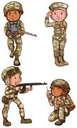 Four brave soldiers Stock Illustration