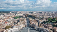 Timelapse View at St. Peter's square from dome of St. Peter Basilica in Rome in Stock Footage
