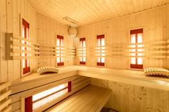 interior of sauna - stock photo