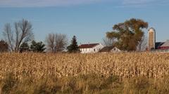 Frac sand mining plant pipeline amid an Amish farm Stock Footage