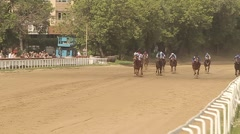 Horse racing finish slow motions Stock Footage