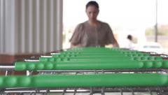 Shopping Cart Shopper Over Top - stock footage