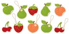 fruity labels - stock illustration