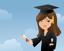 graduating girl - stock illustration
