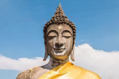 buddha status at wat yai chaimongkol, ayutthaya, thailand - stock photo
