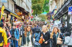 rue de steinkerque on montmartre hill in paris, france - stock photo