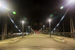 Metal bridge in bamberg at night Stock Photos