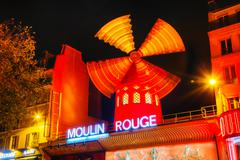 The moulin rouge cabaret in paris Stock Photos