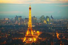 paris cityscape with eiffel tower - stock photo