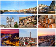 Set of photos with city views of porto, portugal Stock Photos