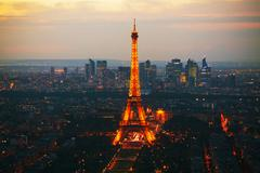 paris cityscape panorama with eiffel tower - stock photo