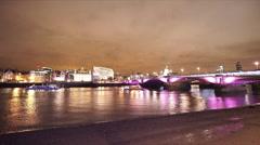 Stock Video Footage of The Blackfriars Bridge London illuminated in the night