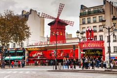 the moulin rouge cabaret in paris - stock photo