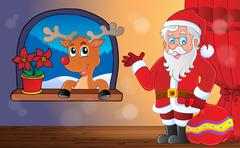 santa claus indoor scene - illustration. - stock illustration