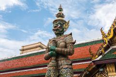 Green giant guardian in wat phra kaew temple ,bangkok,thailand Stock Photos