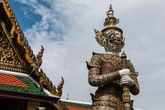 White giant guardian in wat phra kaew temple ,bangkok,thailand Stock Photos
