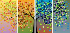 four season tree - stock illustration