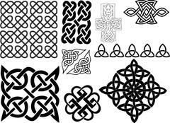 different style irish ornaments - stock illustration