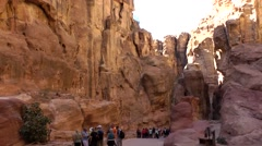 Jordan historical and archaeological city Petra 015 way through a gorge Stock Footage