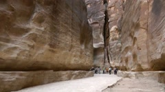 Jordan historical and archaeological city Petra 019 giant rock face in a gorge Stock Footage