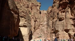 Jordan historical and archaeological city Petra 029 gorge of old treasury Stock Footage