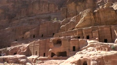 Jordan historical and archaeological city Petra 037 famous rock-cut buildings Stock Footage