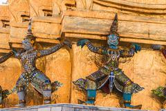Giant guardian in wat phra kaew temple ,bangkok,thailand Stock Photos