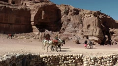 Jordan historical and archaeological city Petra 047 valley like a movie scenery Stock Footage