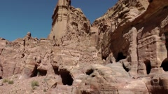 Jordan historical and archaeological city Petra 052 ruins and rock formations Stock Footage