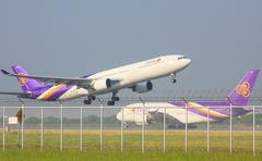 bangkok thailand november 22 : thai airways plane take off from suvarnabhumi  - stock photo