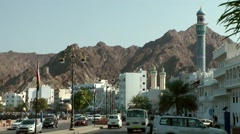 Arabia Orient Oman sultanate city of Muttrah (Matrah) 044 cityscape with minaret Stock Footage