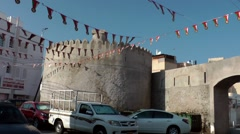 Arabia Orient Oman sultanate city of Muttrah (Matrah) 053 city wall with arch - stock footage