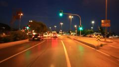 Night traffic in the city crossroad in Istanbul Stock Footage