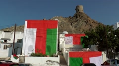 Stock Video Footage of Arabia Orient Oman sultanate city of Muttrah (Matrah) 059 national holiday