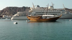 Arabia Orient Oman sultanate city of Muttrah (Matrah) 063 mega yacht Al Said Stock Footage